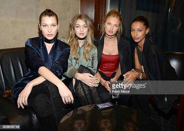Bella Hadid and Gigi Hadid attend Kanye West Yeezy Season 3 at Madison Square Garden on February 11 2016 in New York City