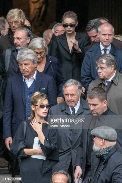 Bella Hadid and Gigi Hadid attend Peter Lindbergh's funeral at Eglise Saint-Sulpice on September 24, 2019 in Paris, France.