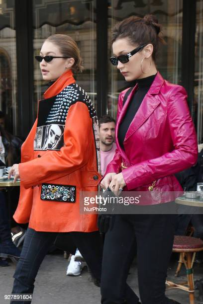Bella Hadid and Gigi Hadid leave the Café Flore in Paris France on March 3 2018
