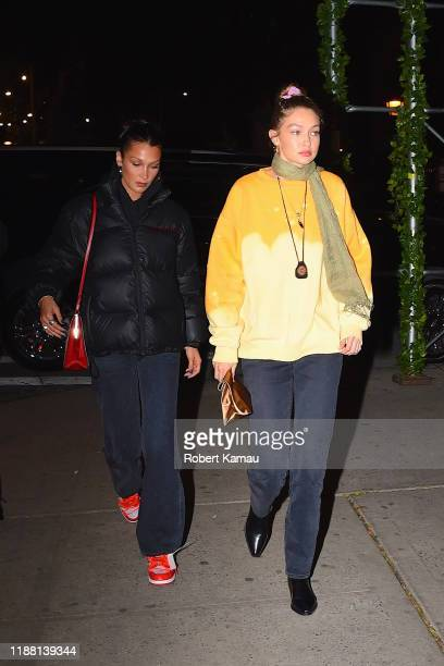 Bella Hadid and Gigi Hadid seen out and about in Manhattan on December 12 2019 in New York City