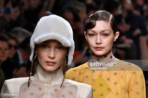 Bella Hadid and Gigi Hadid walk the runway at the Fendi Ready to Wear Fall/Winter 20192020 fashion show at Milan Fashion Week Autumn/Winter 2019/20...