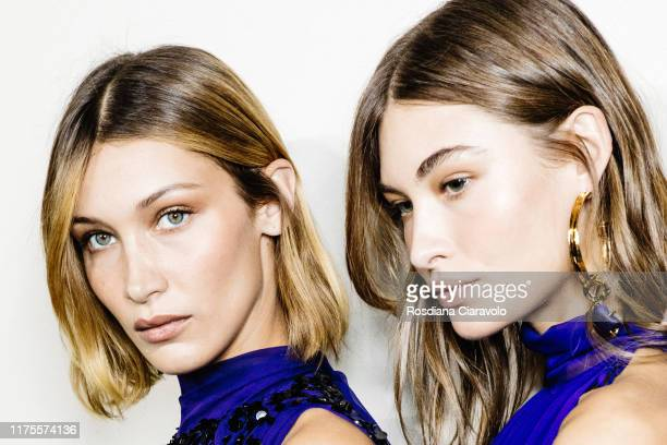 Bella Hadid and Grace Elizabeth pose during backstage for Alberta Ferretti fashion show during the Milan Fashion Week Spring/Summer 2020 on September...