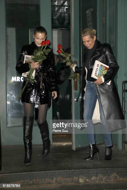 Bella Hadid and her mother Yolanda leave a Mr Chow restaurant after they had a Valentine's Day dinner together on February 14 2018 in New York City