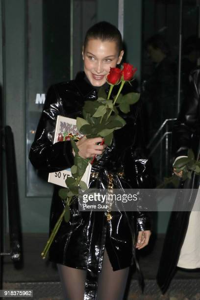 Bella Hadid and her mother Yolanda leave a Mr Chow restaurant where they had a Valentine's Day dinner together on February 14 2018 in New York City