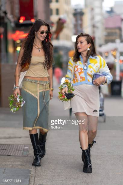 Bella Hadid and Jen Bachelor are seen in SoHo on September 01, 2021 in New York City.