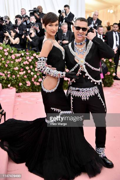 Bella Hadid and Jeremy Scott attend The 2019 Met Gala Celebrating Camp: Notes on Fashion at Metropolitan Museum of Art on May 06, 2019 in New York...