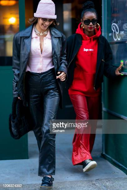 Bella Hadid and Justine Skye are seen in Tribeca on February 14, 2020 in New York City.