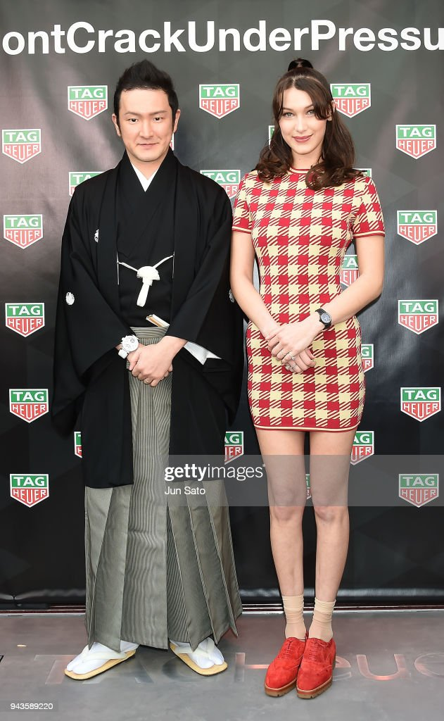 Bella Hadid and Kabuki actor Shido Nakamura attend the opening ceremony for Tag Heuer Ginza Boutique on April 9, 2018 in Tokyo, Japan.