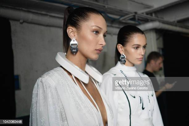 Bella Hadid and Kaia Gerber pose backstage before the OffWhite show as part of the Paris Fashion Week Womenswear Spring/Summer 2019 on September 27...