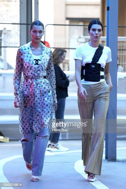 Bella Hadid and Kendall Jenner are seen at the rehearsal of the OffWhite show as part of the Paris Fashion Week Womenswear Spring/Summer 2019 on...
