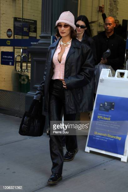 Bella Hadid and Kendall Jenner are seen leaving a Best Buy store on broadway on February 14 2020 in New York City
