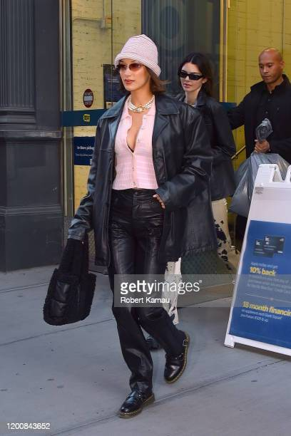 Bella Hadid and Kendall Jenner seen out and about in Manhattan on February 14, 2020 in New York City.