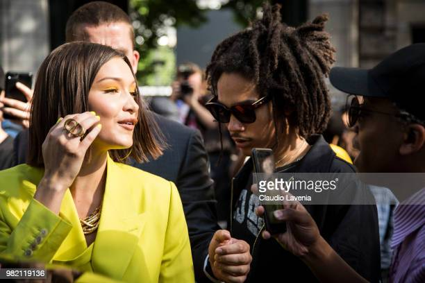 Bella Hadid and Luka Sabbat are seen in the streets of Paris after the Dior Homme show during Paris Men's Fashion Week Spring/Summer 2019 on June 23...