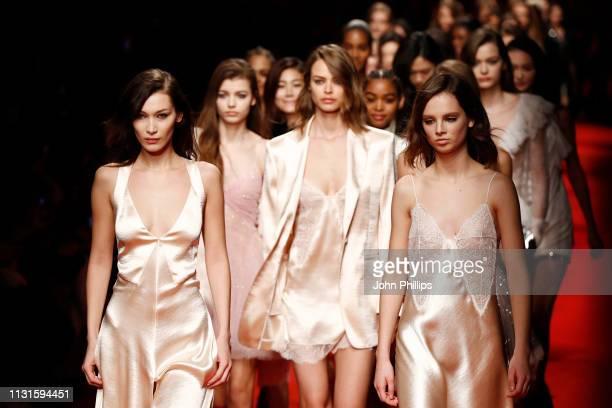 Bella Hadid and models walk the runway at the Philosophy Di Lorenzo Serafini show at Milan Fashion Week Autumn/Winter 2019/20 on February 23 2019 in...