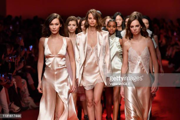 Bella Hadid and models walk the runway at the Philosophy Di Lorenzo Serafini Ready to Wear Fall/Winter 20192020 fashion show at Milan Fashion Week...