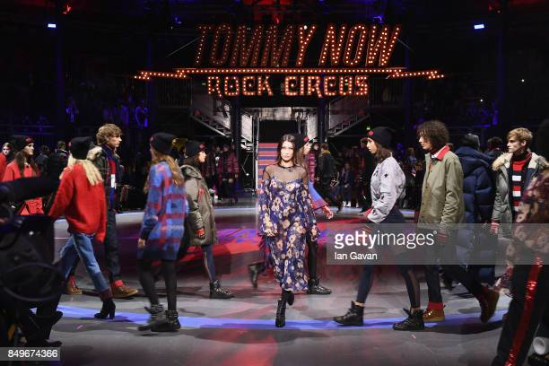 Bella Hadid and models walk the runway at the Tommy Hilfiger TOMMYNOW Fall 2017 Show during London Fashion Week September 2017 at the Roundhouse on...