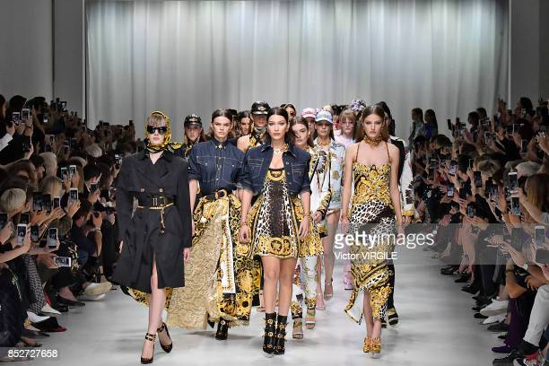Bella Hadid and models walk the runway at the Versace Ready to Wear Spring/Summer 2018 fashion show during Milan Fashion Week Spring/Summer 2018 on...