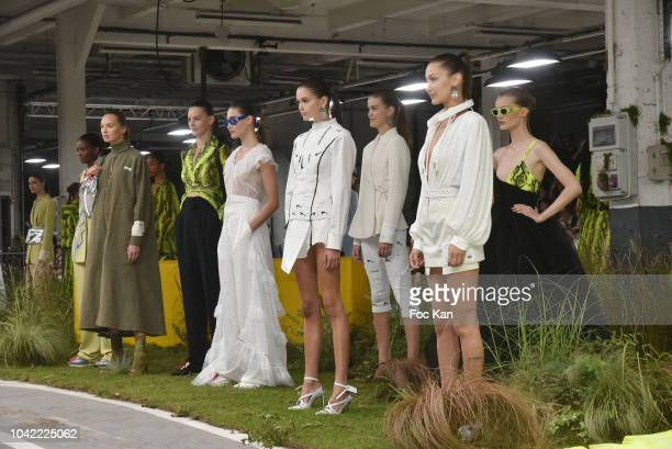 Bella Hadid and models walk the runway during the Off White show as part of Paris Fashion Week Womenswear Spring/Summer 2019 on September 27 2018 in...