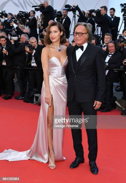 Bella Hadid and Mohamed Hadid attend the 'Ismael's Ghosts ' screening and Opening Gala during the 70th annual Cannes Film Festival at Palais des...