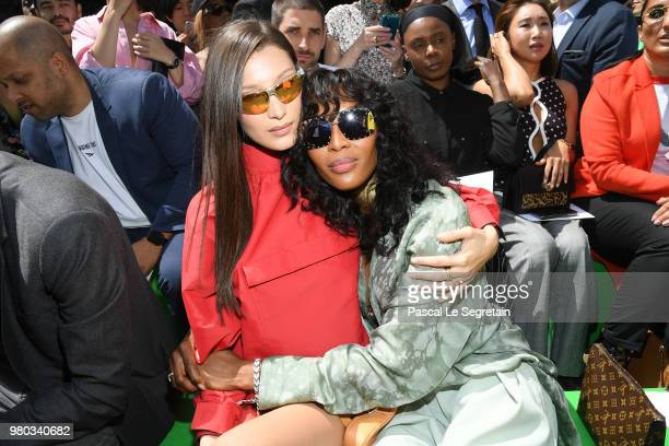 Bella Hadid and Naomi Campbell attend the Louis Vuitton Menswear Spring/Summer 2019 show as part of Paris Fashion Week on June 21 2018 in Paris France
