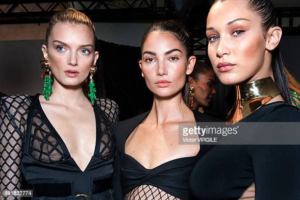 Bella Hadid and other models backstage during the Balmain Ready to Wear show as part of the Paris Fashion Week Womenswear Spring/Summer 2016 on...