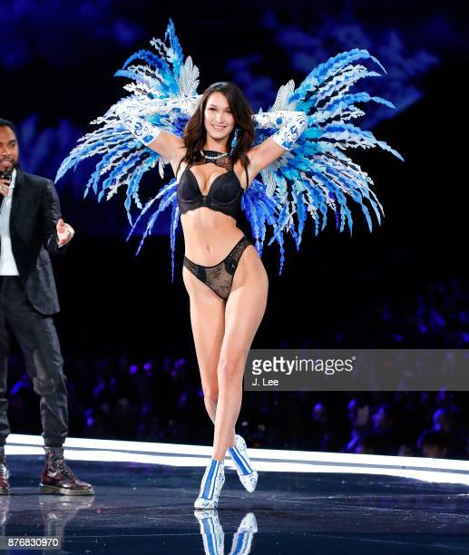 Bella Hadid and singer Miguel at the 2017 Victoria's Secret fashion show on November 20 2017 in Shanghai China