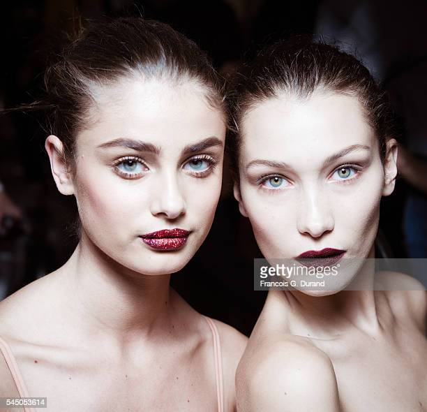 Bella Hadid and Taylor Marie Hill pose Backstage prior the Atelier Versace Haute Couture Fall/Winter 20162017 show as part of Paris Fashion Week on...