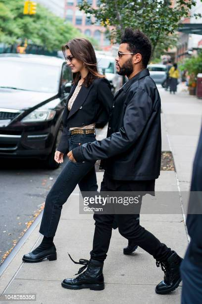 Bella Hadid and The Weeknd are seen in SoHo on October 9 2018 in New York City