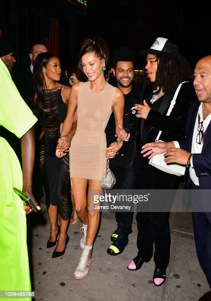 Bella Hadid and The Weeknd arrive to Avenue on November 8 2018 in New York City