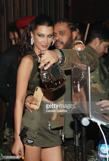 Bella Hadid and The Weeknd attend as The Weeknd celebrates his birthday at TAO Downtown with Remy Martin at TAO Downtown on February 15, 2019 in New...