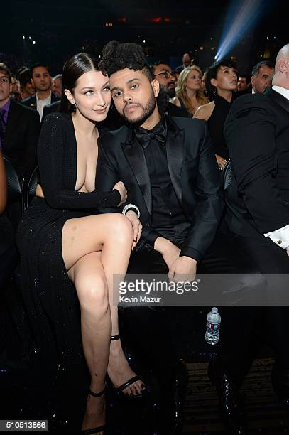Bella Hadid and The Weeknd attend The 58th GRAMMY Awards at Staples Center on February 15 2016 in Los Angeles California