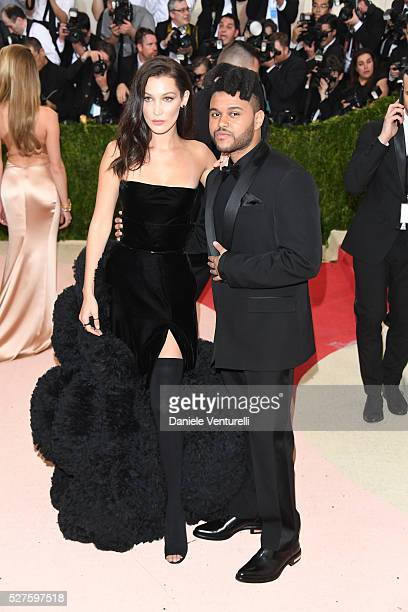 Bella Hadid and The Weeknd attend the 'Manus x Machina Fashion In An Age Of Technology' Costume Institute Gala at the Metropolitan Museum on May 02...