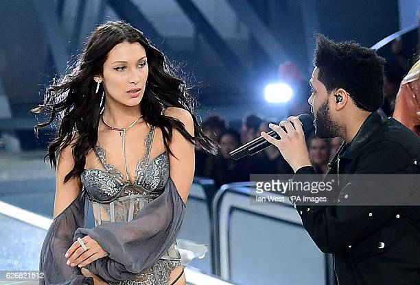 Bella Hadid and The Weeknd during the Victoria's Secret fashion show held at The Grand Palais in Paris France