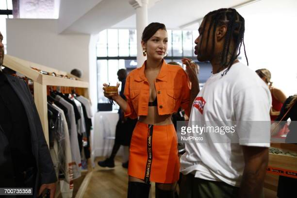 Bella Hadid and Travis Scott attend the Heron Preston Presentation Man Menswear Spring/Summer 2018 show as part of Paris Fashion Week on June 22 2017...