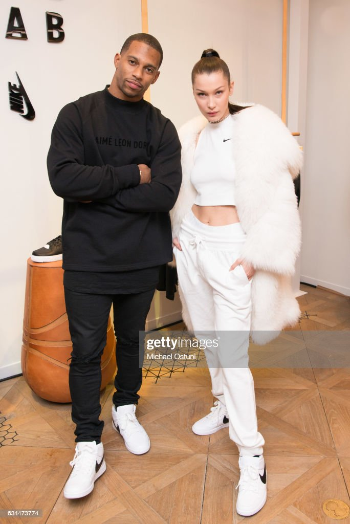 Bella Hadid and Victor Cruz attend Bergdorf Goodman Celebrates the New NikeLab Opening in Goodman's Men's Store at on February 9, 2017 in New York City.