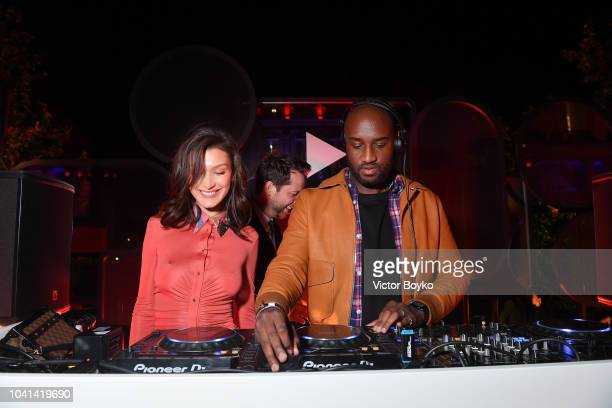 Bella Hadid and Virgil Abloh attend the YouTube cocktail party during Paris Fashion Week on September 26 2018 in Paris France