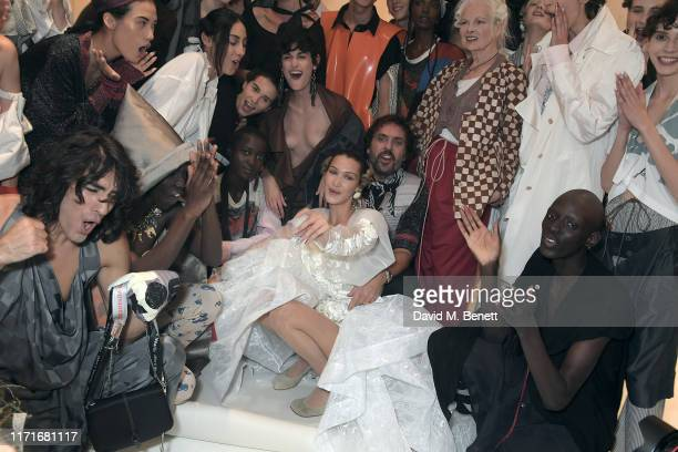 Bella Hadid Andreas Kronthaler and Vivienne Westwood attend the Andreas Kronthaler For Vivienne Westwood Womenswear Spring/Summer 2020 show as part...