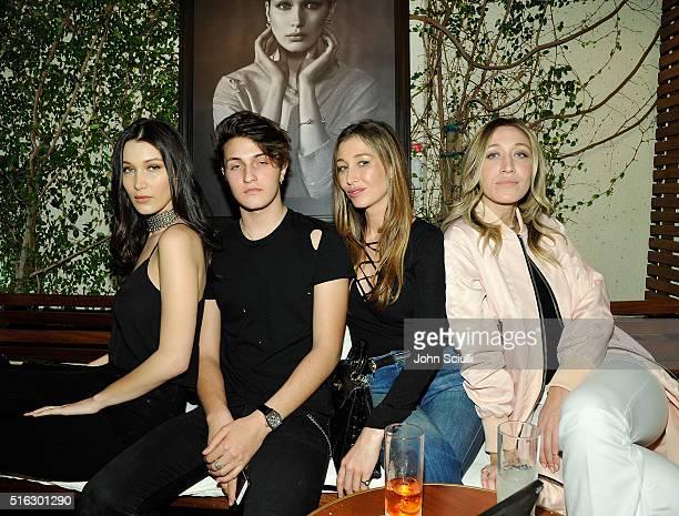 Bella Hadid, Anwar Hadid, Marielle Hadid and Alana Hadid attend Joe's Jeans and Bella Hadid celebration for the launch of the 2016 Joe's Jeans...