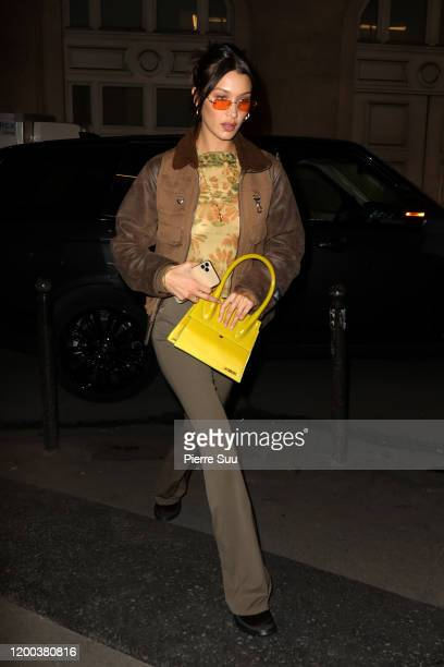 Bella Hadid arrives at an office building on January 18 2020 in Paris France