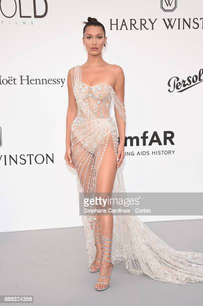 Bella Hadid arrives at the amfAR Gala Cannes 2017 at Hotel du Cap-Eden-Roc on May 25, 2017 in Cap d'Antibes, France.