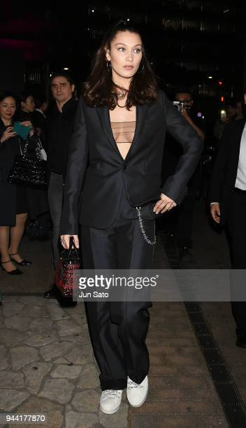 Bella Hadid arrives at the Dior Addict Lacquer Plump Party at 1 OAK on April 10 2018 in Tokyo Japan