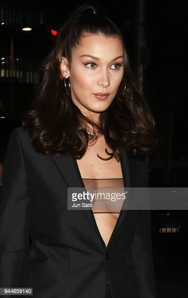 Bella Hadid arrives at the Dior Addict Lacquer Plump Party at 1 OAK on April 11 2018 in Tokyo Japan