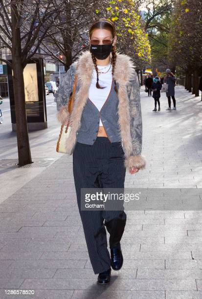 Bella Hadid arrives at the Metropolitan Museum of Art on November 19, 2020 in New York City.