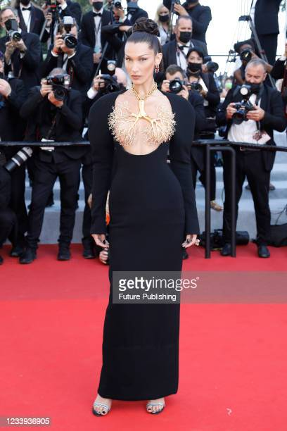 Bella Hadid arrives at the premiere of 'Tre Piani ' during the 74th Cannes Film Festival held at the Palais des Festivals in Cannes, France.