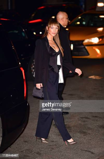 Bella Hadid arrives to the wedding reception for Char Defrancesco and Marc Jacobs at The Grill and The Pool on April 6 2019 in New York City