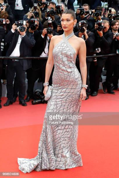 """Bella Hadid at the """"Blackkklansman"""" premiere during the 71st Cannes Film Festival at the Palais des Festivals on May14, 2018 in Cannes, France."""