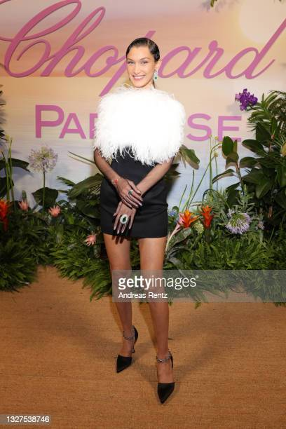 Bella Hadid attends a dinner hosted by Chopard during the 74th annual Cannes Film Festival on July 07, 2021 in Cannes, France.