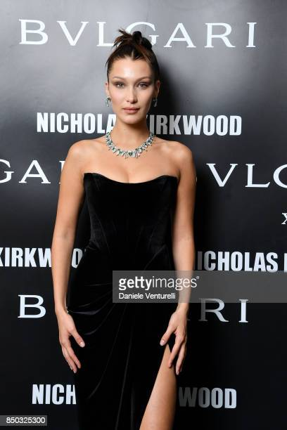 Bella Hadid attends a party celebrating 'Serpenti Forever' By Nicholas Kirkwood for Bvlgari on September 20 2017 in Milan Italy