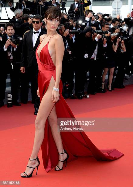 Bella Hadid attends a screening of The Unknown Girl at the annual 69th Cannes Film Festival at Palais des Festivals on May 18 2016 in Cannes France