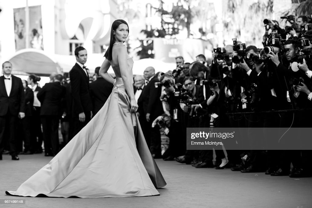 Bella Hadid attends attend the screening of 'Ash Is The Purest White (Jiang Hu Er Nv)' during the 71st annual Cannes Film Festival at on May 11, 2018 in Cannes, France.